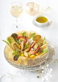 Croustillant de Ratte du Touquet et son jus acidulé à la mangue