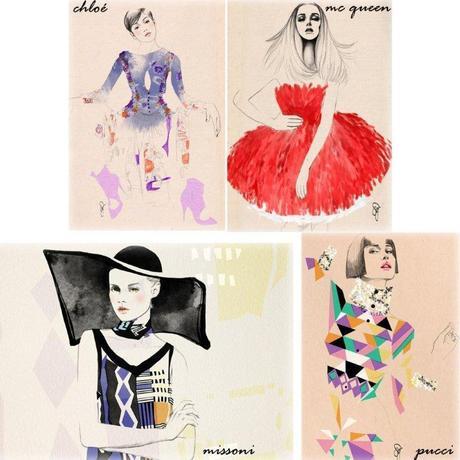 fashion illustration chlo', mc queen, pucci, missoni sandra suy