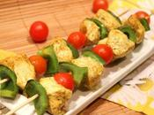Brochettes poulet curry four)
