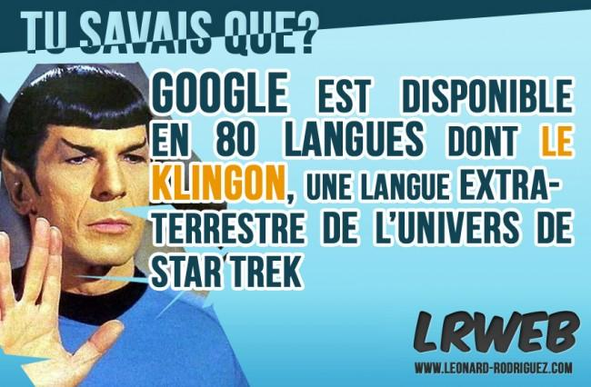Google est disponible en 80 langues dont la langue de Startrek