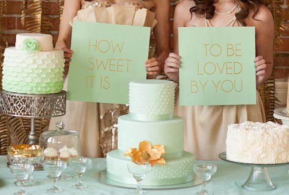 mint green and gold wedding cake d 233 coration de mariage vert d eau paperblog 17443