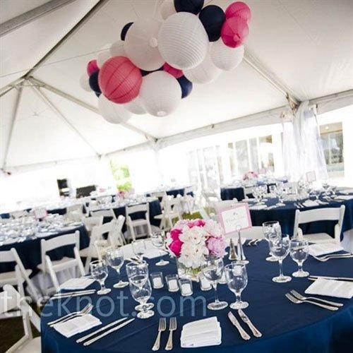D coration de mariage bleu marine et rose voir for Deco bleu marine et blanc