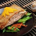 Saumon croute sesame, haricots