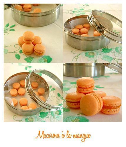 Des macarons à la mangue, en hommage à la Mangue. Pour que l'appétit revienne.