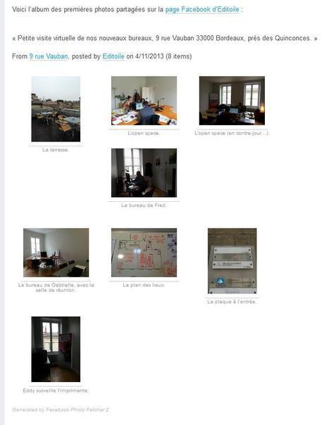 Publier un album photos sur un blog avec Facebook Photo Fetcher