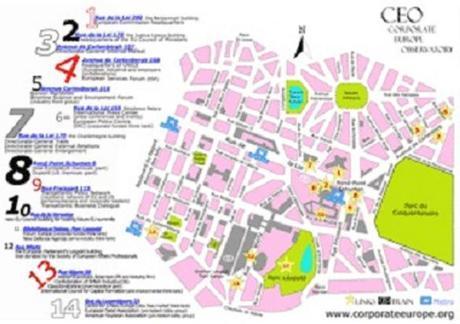 Carte des lobbys dans Bruxelles centre.