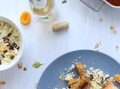 Poulet rôti beurre paprika citron, semoule fruits secs