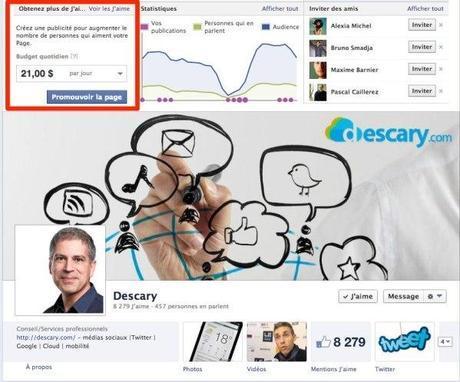 facebook mention jaime publicite Facebook vous incite à créer une publicité pour augmenter le nombre de j'aime sur votre Page