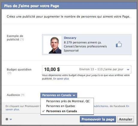 Facebook vous incite à créer une publicité pour augmenter le nombre de j'aime sur votre Page