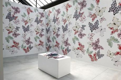 Parastou Forouhar, The Time of the Butterfles, 2013, Wallpaper. View of the exhibition The Fold, photo's Courtesy CAB