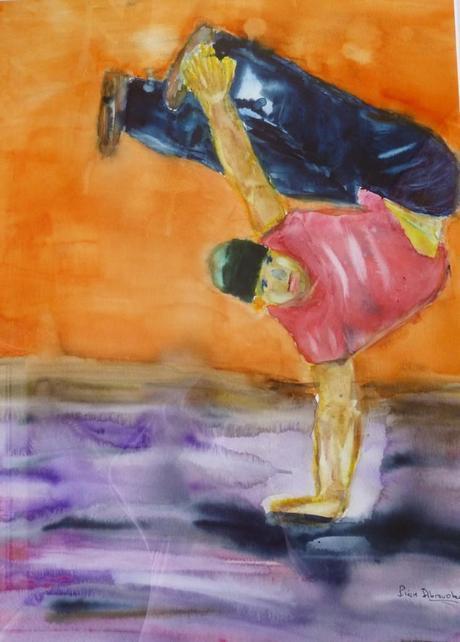 Danseur de hip hop – Aquarelle