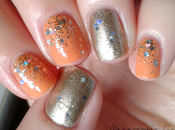[Nail art] Orange, dégradé paillettes accent nail doré