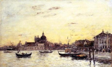 Eugene-louis-Boudin-Venice-The-Mole-at-the-Entrance-to-the-Grand-Canal-and-the-Salute