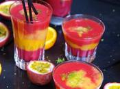 Smoothie bien frais fruits rouges, mangue fruit passion....