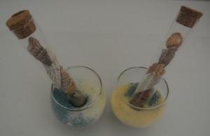 Décoration de table avec des éprouvettes, placez des coquillages dans les éprouvettes