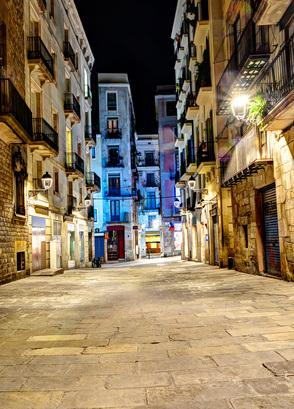 night scene in gothic quarter, Barcelona, Spain