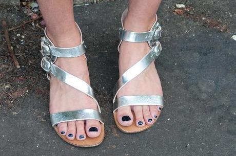 sandales spartiates argentées Minelli