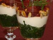 Verrine d'épinard, crème ricotta épicée julienne viande grisons