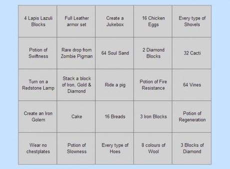 Exemple d'une grille de bingo.