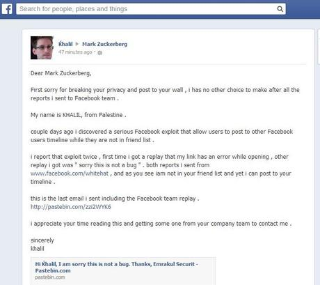 msg to mark ceo facebook Un hacker Palestinien a pirater le compte de Mark Zuckerberg