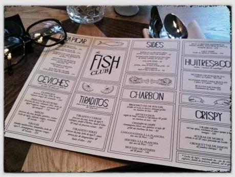 Fish Club Paris menu - ©Pascaline Lechène pilierdebuffet