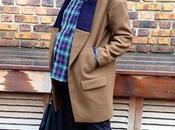 look knitted lapel coat tartan shirt