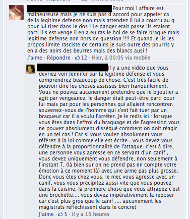Dialogue sur la page Facebook