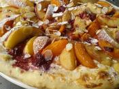 Pizza mascarpone, pêches abricots