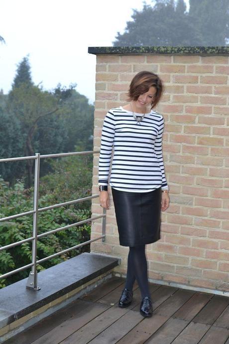 Zara leather skirt Trumans brogues