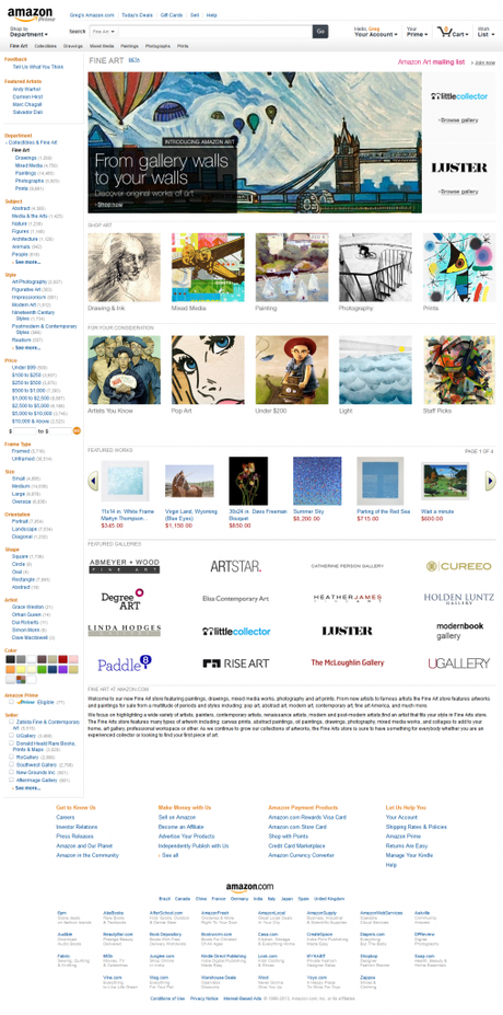 Amazon Art - Page d'accueil de la plateforme © Amazon