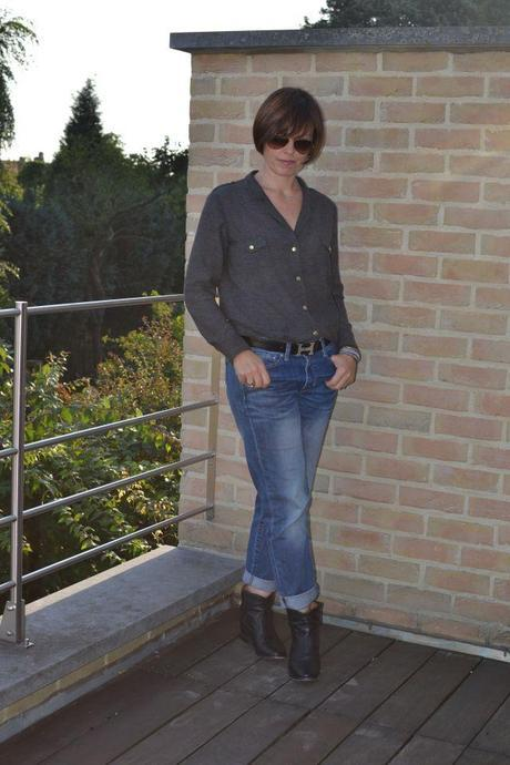 Sezane army shirt Gap boyfriend jeans Cluster IM