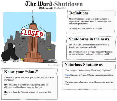 The Word of the Month (OCTOBER 2013) : Shutdown