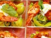 Crevettes tandoori, tagliatelles courgettes curcuma crème fouettée gingembre