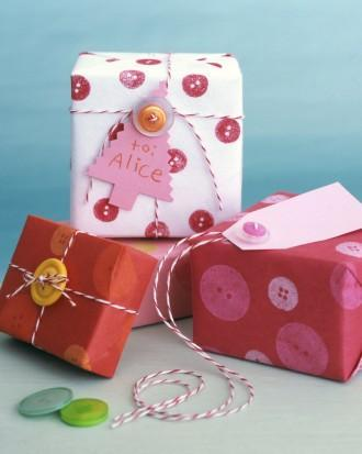 gift wrap and buttons