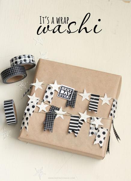 washi tape wrap gift