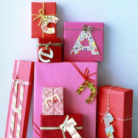 monogram paper wrap gift