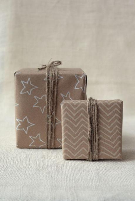 kraft gift wrap handmade, geometric and minimalist