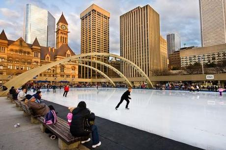 Nathan Phillips Square Ice Rink Toronto e1321546340320 Amazing Outdoor Ice Skating Rinks