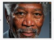 portrait impressionnant Morgan Freeman dessiné doigt iPad