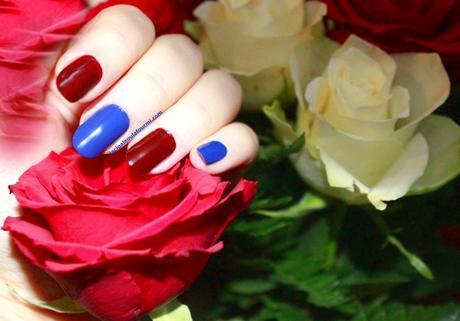 beautynails, BNA, vernis, Rouge, Bleu, nail art, manucure