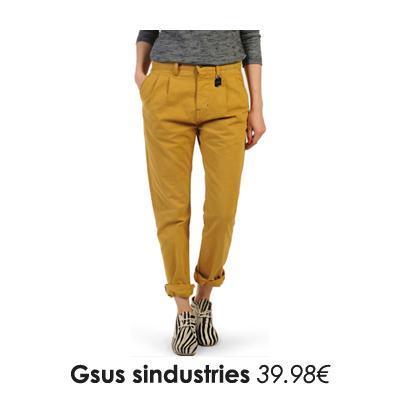 Pantalon chino jaune moutarde