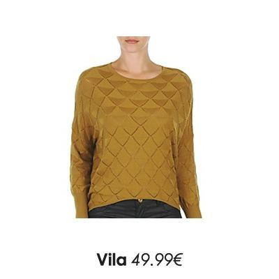 Pull grosse maille jaune moutarde