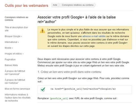 Incruster la balise authorship en deux étapes. (Capture d'écran de l'interface d'aide Google, https://support.google.com/, 15/11/2013)