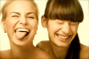 Two cute laughing girls