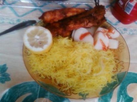 Ratatouille, pâtes et friture de rougets
