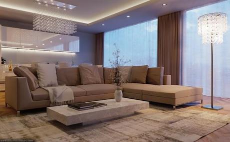 Un Salon Contemporain Dépeignant Un Luxueux Style De Vie