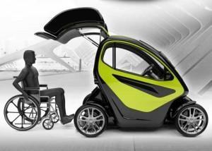 Une voiture pour handicapé conçue pour que son conducteur n'ait jamais à sortir de son fauteuil roulant, et puisse se déplacer en ville en toute autonomie.