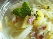 Soupe chou, pommes terre lard