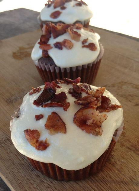 Chocolate Bacon Cupcakes with Goat Cheese Honey Frosting