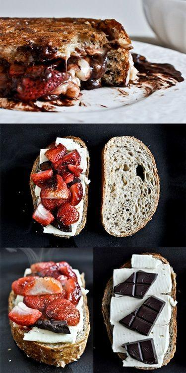 Strawberry Chocolate Brie Grilled Cheese